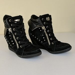 Guess Punk/Goth Studded Wedge Heeled Ankle Boots